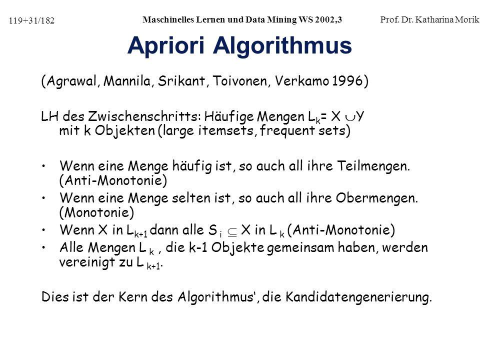 119+31/182 Maschinelles Lernen und Data Mining WS 2002,3Prof.