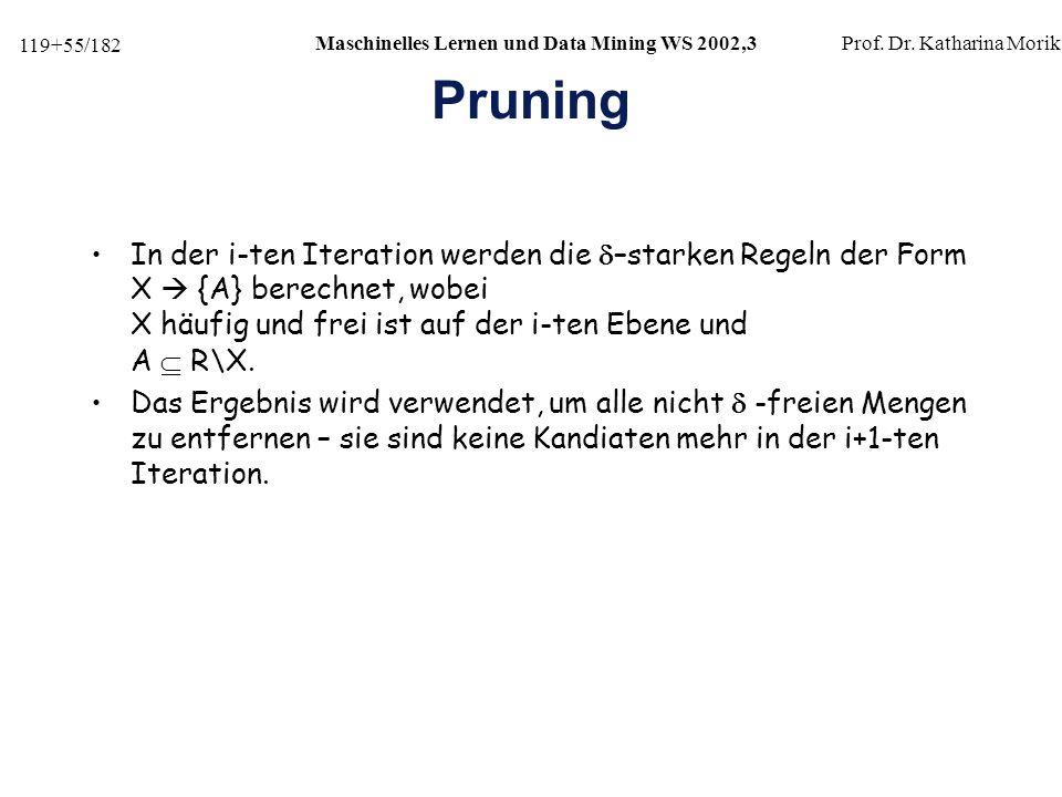119+55/182 Maschinelles Lernen und Data Mining WS 2002,3Prof.