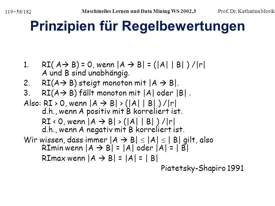 119+58/182 Maschinelles Lernen und Data Mining WS 2002,3Prof.