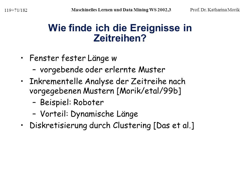 119+71/182 Maschinelles Lernen und Data Mining WS 2002,3Prof.