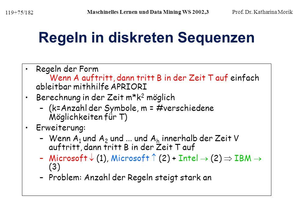 119+75/182 Maschinelles Lernen und Data Mining WS 2002,3Prof.