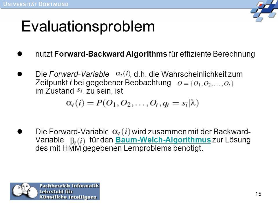 15 Evaluationsproblem nutzt Forward-Backward Algorithms für effiziente Berechnung Die Forward-Variable, d.h. die Wahrscheinlichkeit zum Zeitpunkt t be