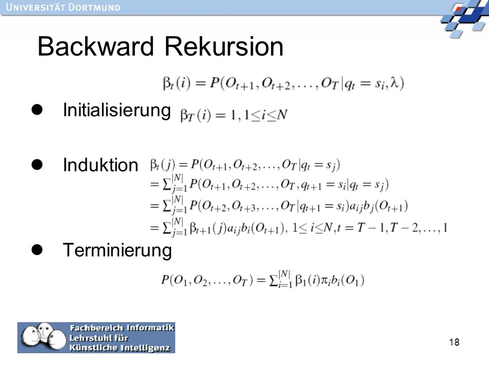 18 Backward Rekursion Initialisierung Induktion Terminierung :