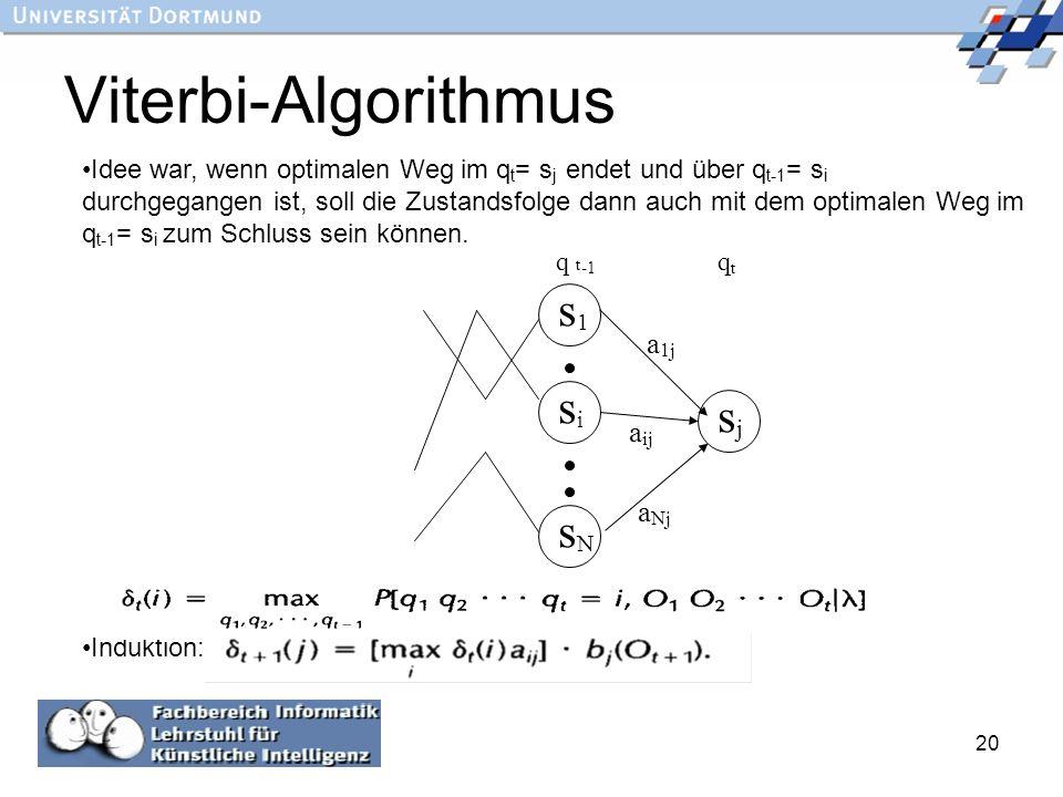 20 Viterbi-Algorithmus s1s1 sisi sNsN sjsj a ij a Nj a 1j q t -1 q t Idee war, wenn optimalen Weg im q t = s j endet und über q t-1 = s i durchgegange