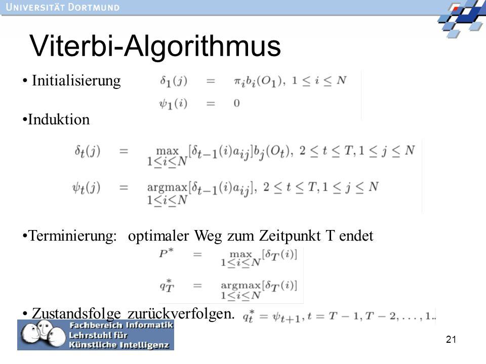 21 Viterbi-Algorithmus Initialisierung Induktion Terminierung: optimaler Weg zum Zeitpunkt T endet Zustandsfolge zurückverfolgen.