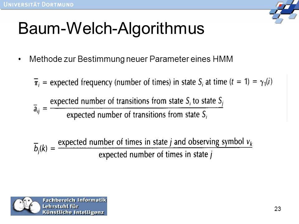 23 Baum-Welch-Algorithmus Methode zur Bestimmung neuer Parameter eines HMM