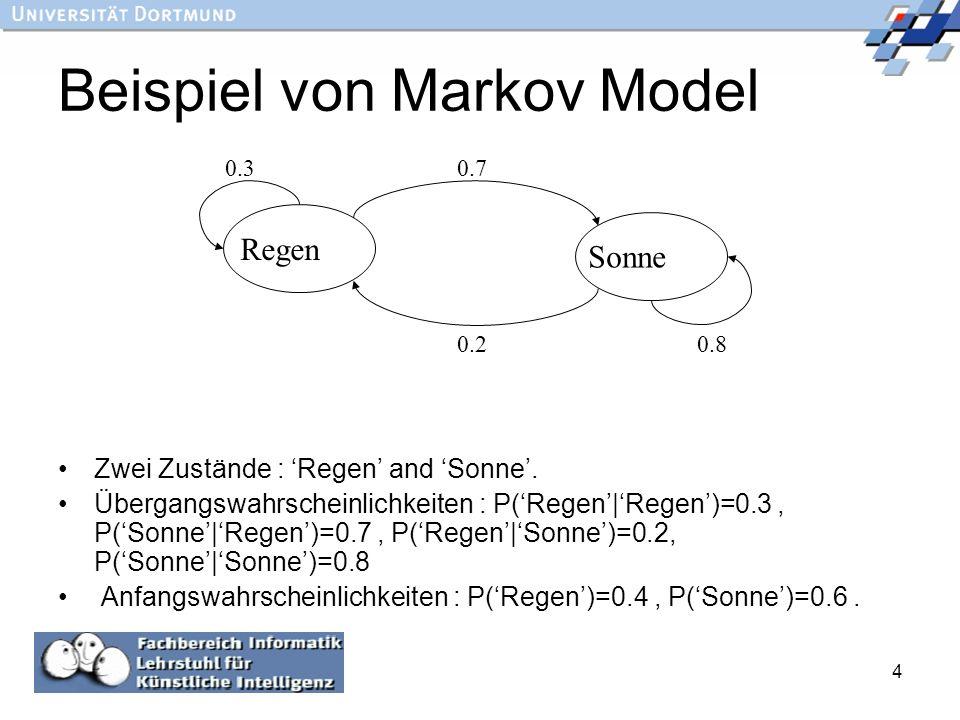 4 Beispiel von Markov Model Zwei Zustände : Regen and Sonne. Übergangswahrscheinlichkeiten : P(Regen Regen)=0.3, P(Sonne Regen)=0.7, P(Regen Sonne)=0.