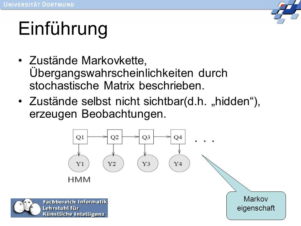 6 Einführung Zustände Markovkette, Übergangswahrscheinlichkeiten durch stochastische Matrix beschrieben. Zustände selbst nicht sichtbar(d.h. hidden),
