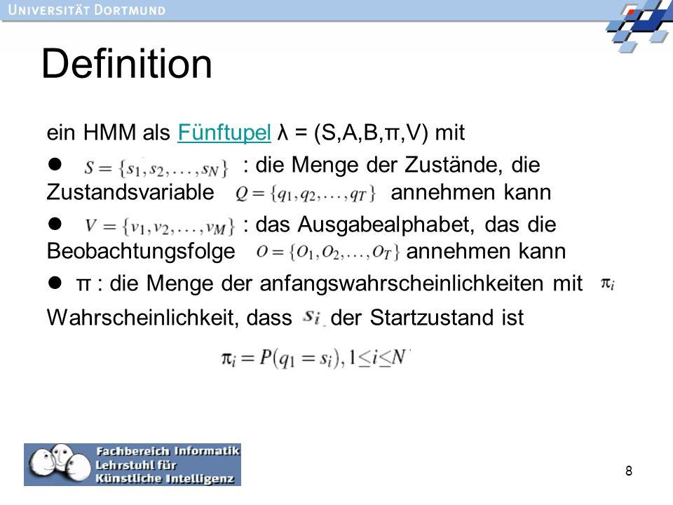 8 Definition ein HMM als Fünftupel λ = (S,A,B,π,V) mitFünftupel : die Menge der Zustände, die Zustandsvariable annehmen kann : das Ausgabealphabet, da
