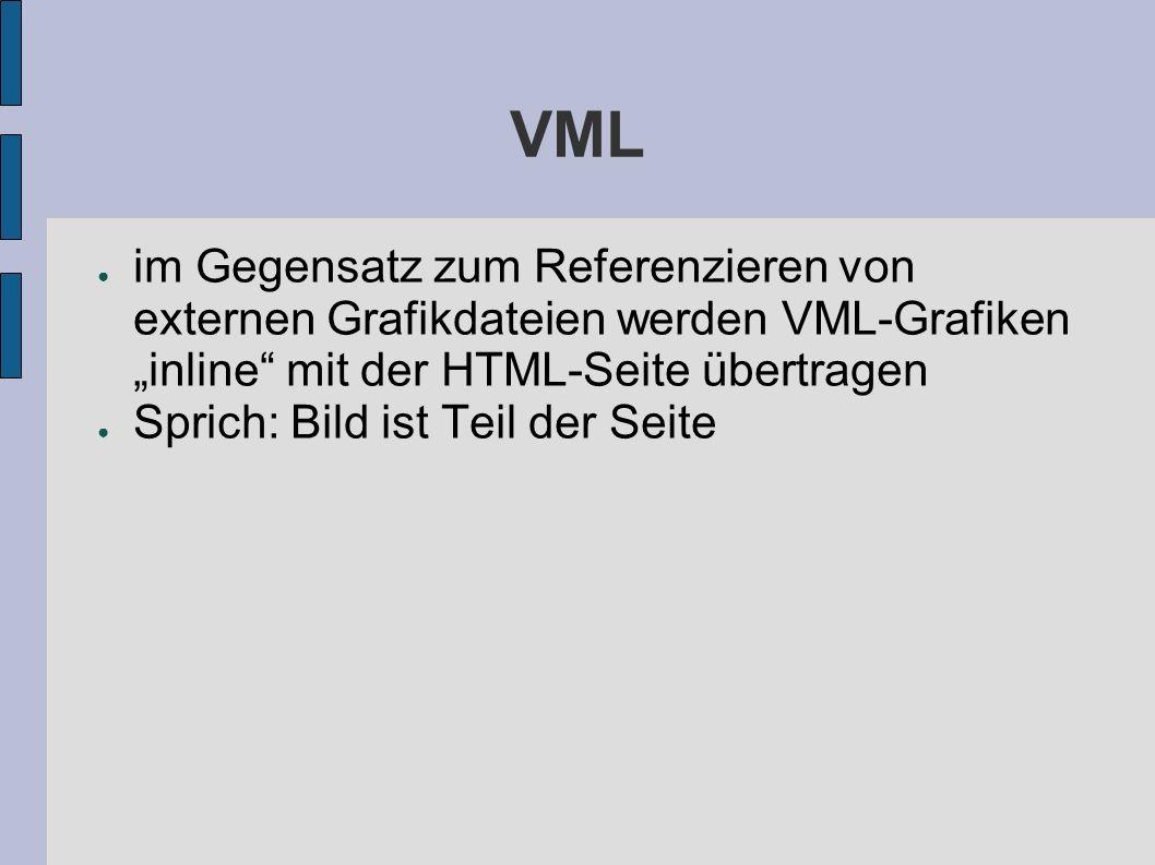 VML im Gegensatz zum Referenzieren von externen Grafikdateien werden VML-Grafiken inline mit der HTML-Seite übertragen Sprich: Bild ist Teil der Seite