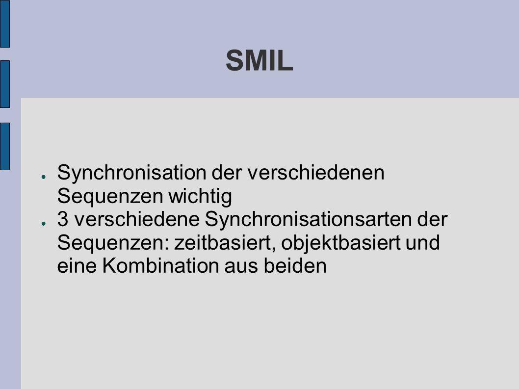 SMIL Synchronisation der verschiedenen Sequenzen wichtig 3 verschiedene Synchronisationsarten der Sequenzen: zeitbasiert, objektbasiert und eine Kombination aus beiden
