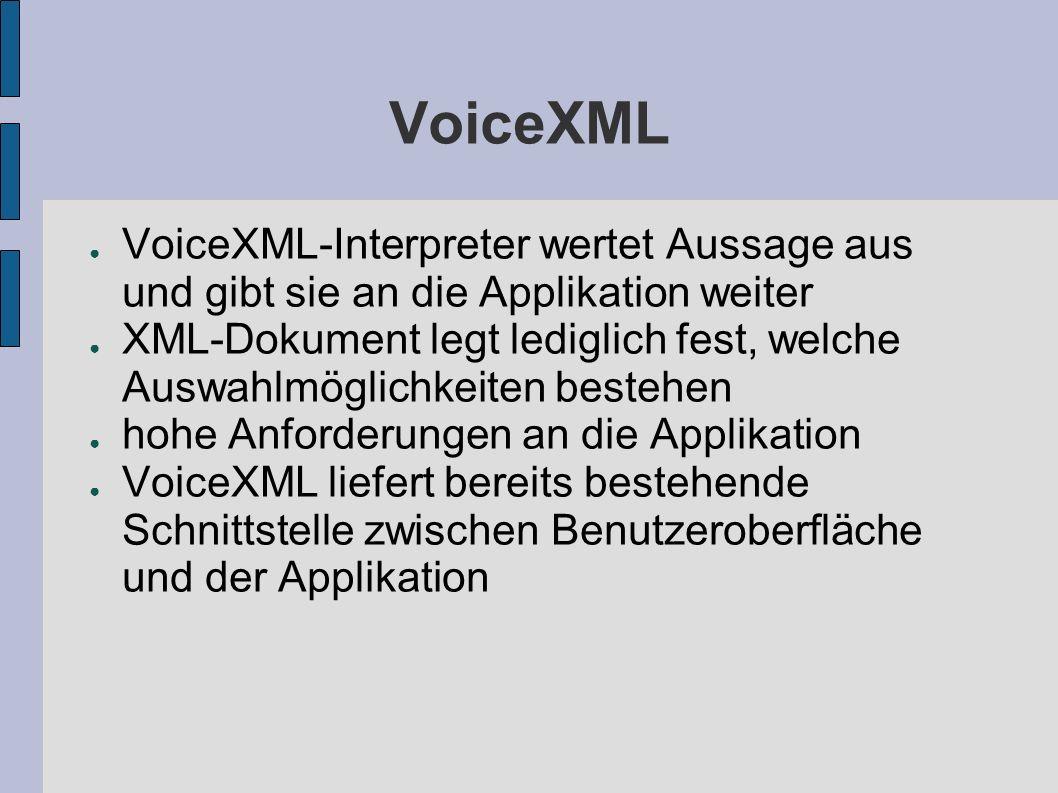 VoiceXML VoiceXML-Interpreter wertet Aussage aus und gibt sie an die Applikation weiter XML-Dokument legt lediglich fest, welche Auswahlmöglichkeiten bestehen hohe Anforderungen an die Applikation VoiceXML liefert bereits bestehende Schnittstelle zwischen Benutzeroberfläche und der Applikation