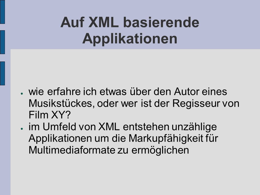 Beispielapplikationen VML (Vector Markup Language) SMIL (Synchronized Multimedia Integration Language) SVG (Scalable Vector Graphics) VoiceXML