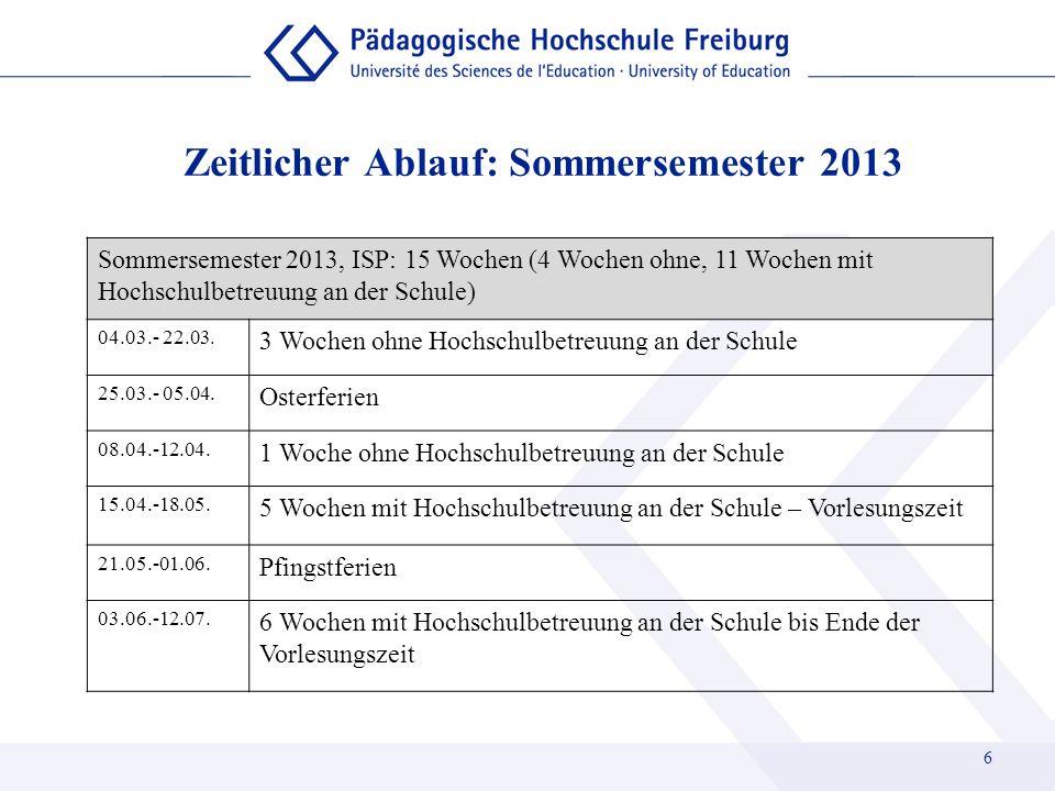 Zeitlicher Ablauf: Sommersemester 2013 Sommersemester 2013, ISP: 15 Wochen (4 Wochen ohne, 11 Wochen mit Hochschulbetreuung an der Schule) 04.03.- 22.