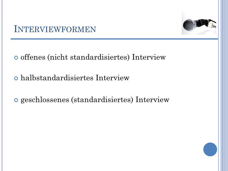 I NTERVIEWFORMEN offenes (nicht standardisiertes) Interview halbstandardisiertes Interview geschlossenes (standardisiertes) Interview