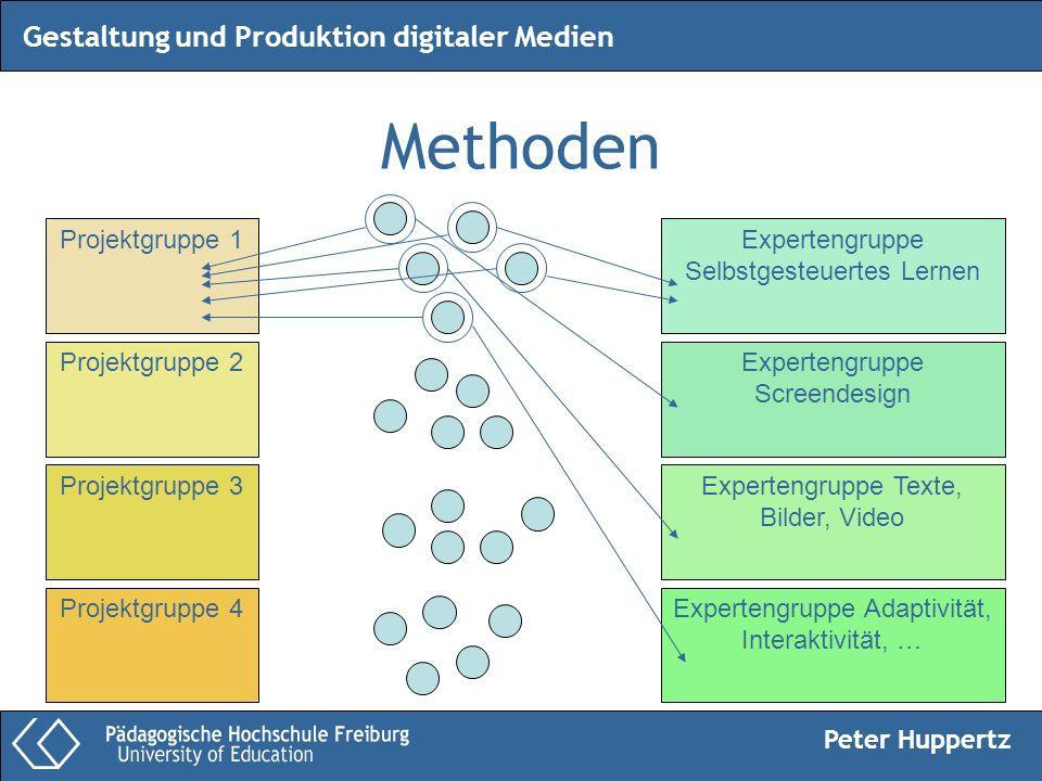 Peter Huppertz Gestaltung und Produktion digitaler Medien Methoden Projektgruppe 1 Projektgruppe 2 Projektgruppe 3 Projektgruppe 4 Expertengruppe Selb