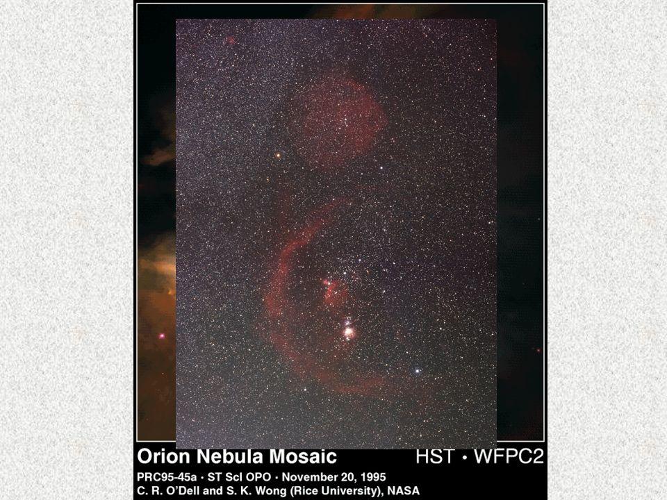 Das interstellare Medium ist der Stoff zwischen den Sternen Es besteht aus Gas, hauptsächlich Wasserstoff und Staub An einigen Stellen sind Gas und Staub dichter vorhanden Molekulare Wolken sind -Dichte: 10 6 -10 10 Teile/cm 3 -Kalt (10-20 K) -H 2 -Moleküle, andere Moleküle (auch organische), Staub H I-Regionen (molekularer Wasserstoff) -Dichte: 1-10 Atome/cm 3 -Wärmer (125 K) -H-Atome H II-Regionen (ionisierter Wasserstoff) -Dichte: 10 Atome/cm 3 -Heiß (10000-20000 K) -finden sich in der Nähe von heißen Sternen -entstehen aus sich erwärmenden molekularen Wolken