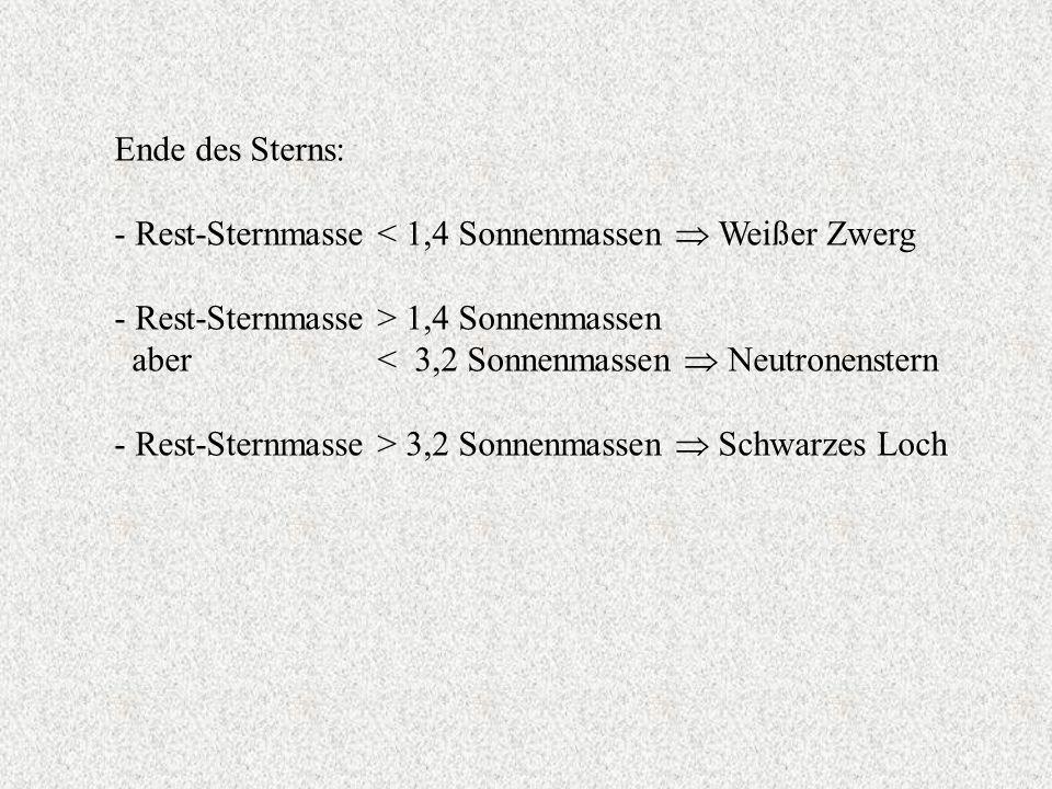 Ende des Sterns: - Rest-Sternmasse < 1,4 Sonnenmassen Weißer Zwerg - Rest-Sternmasse > 1,4 Sonnenmassen aber < 3,2 Sonnenmassen Neutronenstern - Rest-