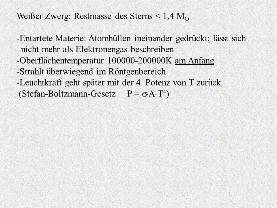 Weißer Zwerg: Restmasse des Sterns < 1,4 M O -Entartete Materie: Atomhüllen ineinander gedrückt; lässt sich nicht mehr als Elektronengas beschreiben -