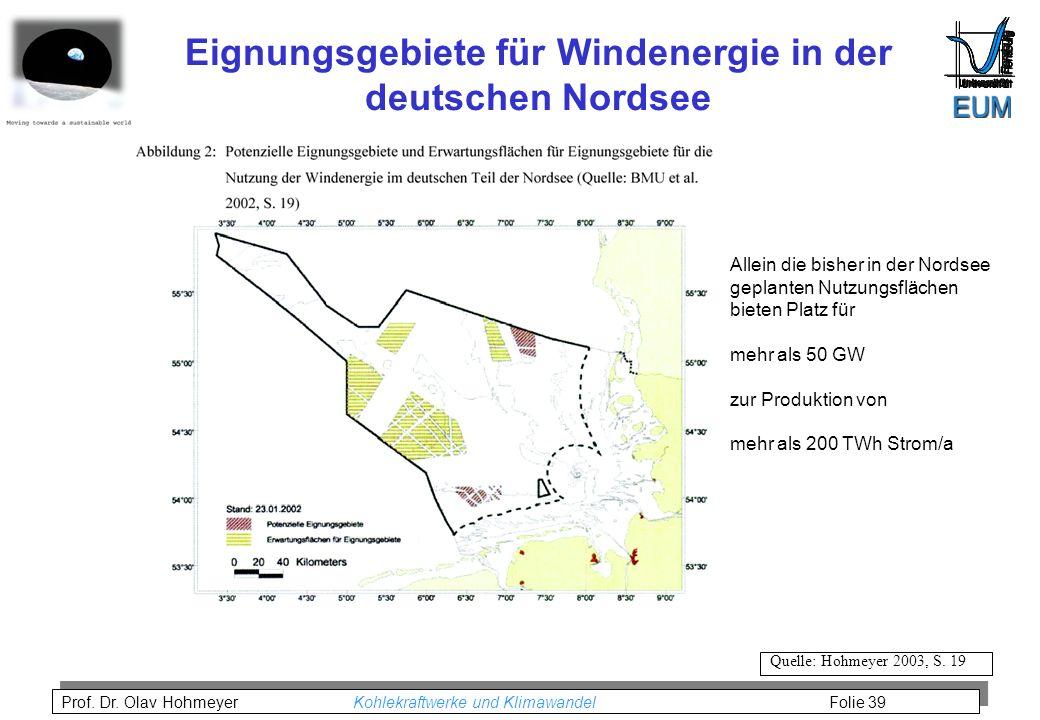 Prof.Dr. Olav Hohmeyer Kohlekraftwerke und Klimawandel Folie 39 Quelle: Hohmeyer 2003, S.