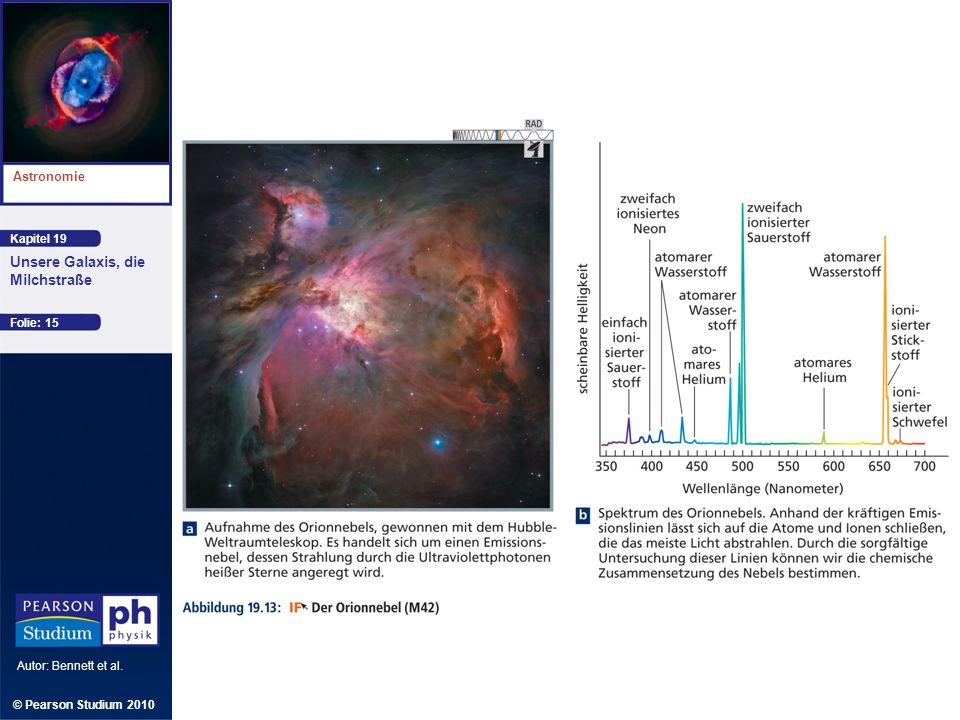 Kapitel 19 Astronomie Autor: Bennett et al. Unsere Galaxis, die Milchstraße © Pearson Studium 2010 Folie: 15