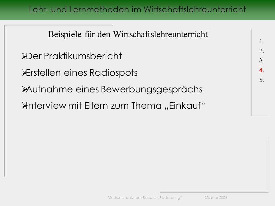 Lehr- und Lernmethoden im Wirtschaftslehreunterricht 1.