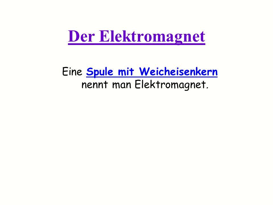 Der Elektromagnet Eine Spule mit Weicheisenkern nennt man Elektromagnet.