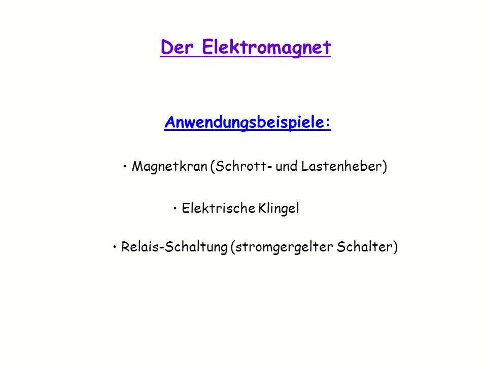 Der Elektromagnet Anwendungsbeispiele: Magnetkran (Schrott- und Lastenheber) Elektrische Klingel Relais-Schaltung (stromgergelter Schalter)