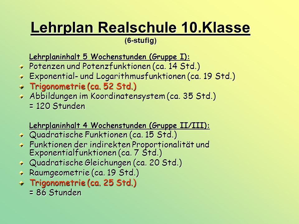 Lehrplan Realschule 10.Klasse (6-stufig) Lehrplaninhalt 5 Wochenstunden (Gruppe I): Potenzen und Potenzfunktionen (ca. 14 Std.) Exponential- und Logar