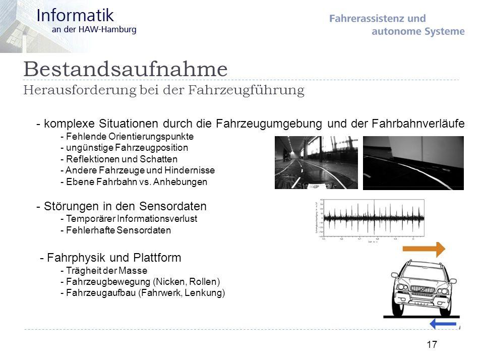 - komplexe Situationen durch die Fahrzeugumgebung und der Fahrbahnverläufe - Fehlende Orientierungspunkte - ungünstige Fahrzeugposition - Reflektionen