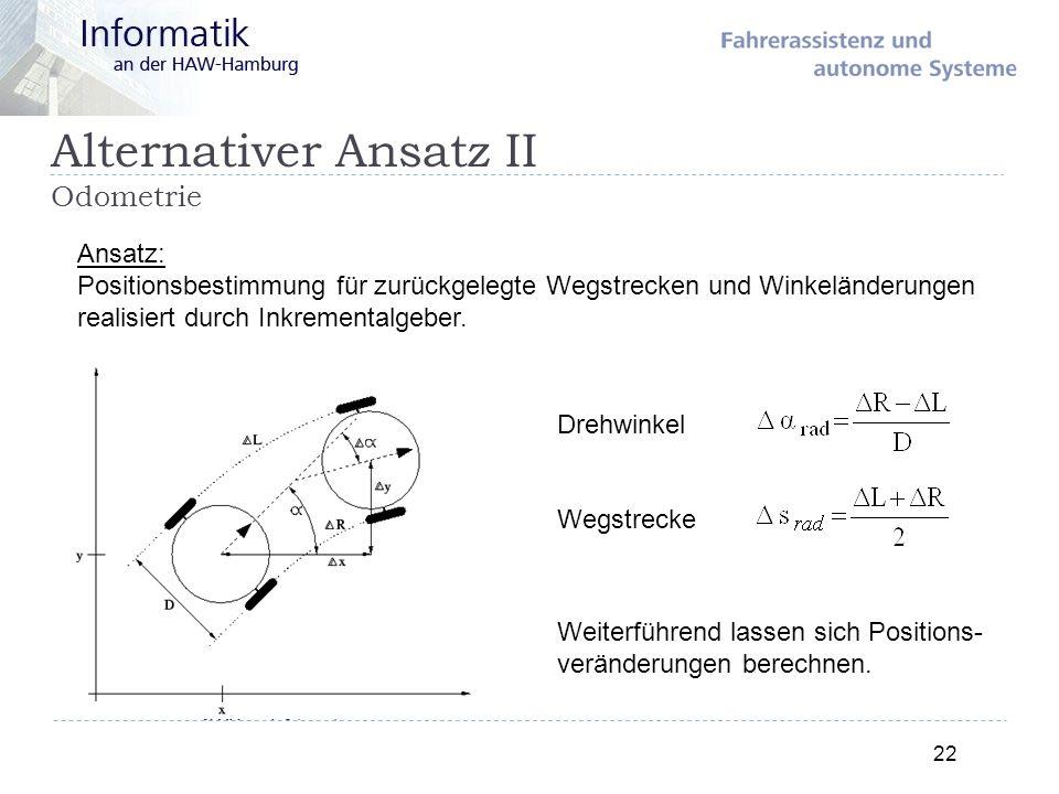 Alternativer Ansatz II Odometrie 22 Ansatz: Positionsbestimmung für zurückgelegte Wegstrecken und Winkeländerungen realisiert durch Inkrementalgeber.