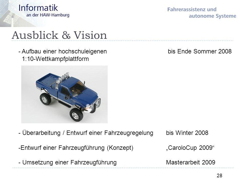Ausblick & Vision 28 - Aufbau einer hochschuleigenen bis Ende Sommer 2008 1:10-Wettkampfplattform - Überarbeitung / Entwurf einer Fahrzeugregelung bis