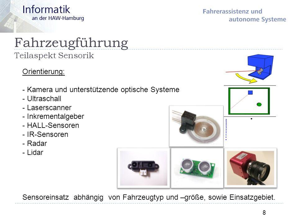 Fahrzeugführung Teilaspekt Sensorik 8 Orientierung: - Kamera und unterstützende optische Systeme - Ultraschall - Laserscanner - Inkrementalgeber - HAL