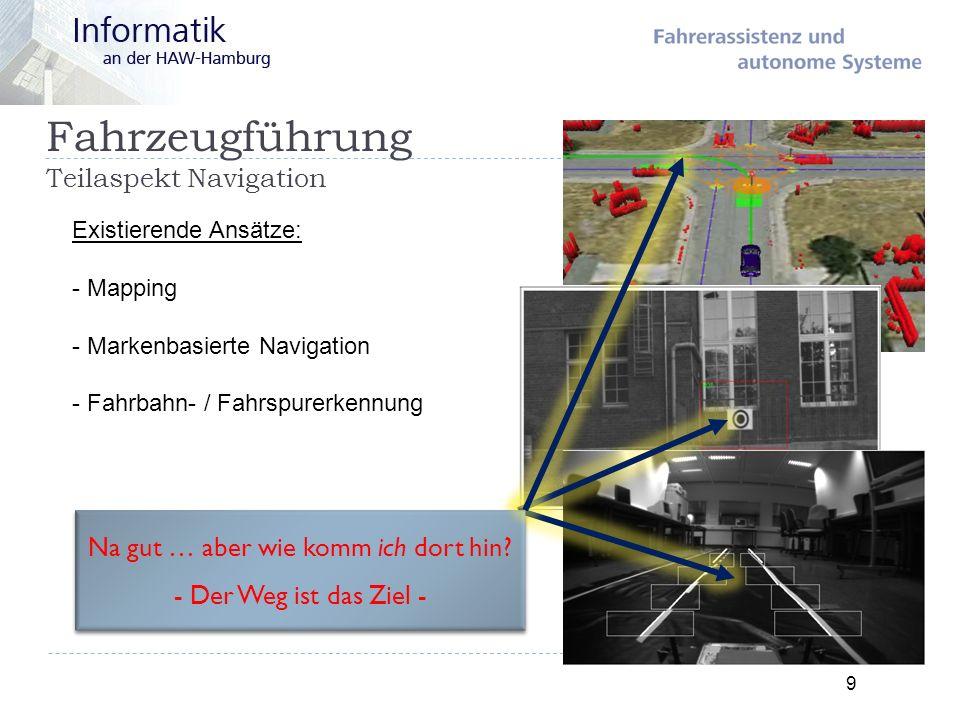 Fahrzeugführung Teilaspekt Navigation 9 Existierende Ansätze: - Mapping - Markenbasierte Navigation - Fahrbahn- / Fahrspurerkennung Na gut … aber wie