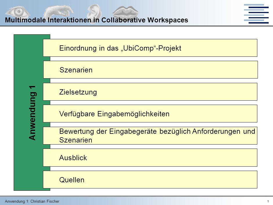 Anwendung 1: Christian Fischer 11 Multimodale Interaktionen in Collaborative Workspaces Eingabe – Zeigegeräte LichtgriffelTouchscreen (kapazitiv, resistiv, ultraschall, infrarot, kraft) www.psychologischtesten.nl www.advanced-input.com