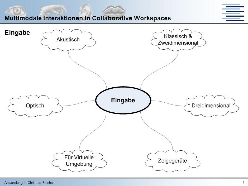 Anwendung 1: Christian Fischer 7 Multimodale Interaktionen in Collaborative Workspaces Eingabe