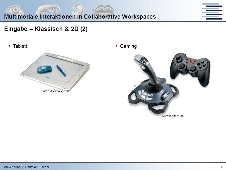 Anwendung 1: Christian Fischer 8 Multimodale Interaktionen in Collaborative Workspaces Eingabe – Klassisch & 2D Tastatur (mechanisch/induktiv/kapazitiv) Maus Touchpad www.logitech.de