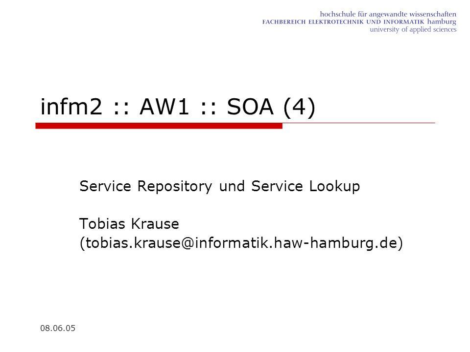 08.06.05 infm2 :: AW1 :: SOA (4) Service Repository und Service Lookup Tobias Krause (tobias.krause@informatik.haw-hamburg.de)