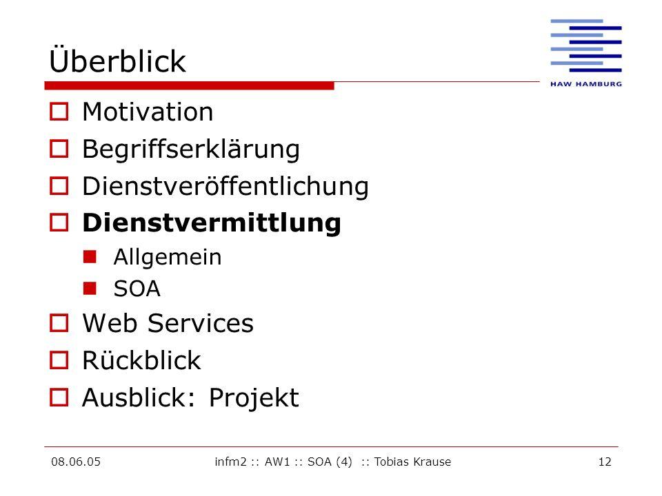 08.06.05infm2 :: AW1 :: SOA (4) :: Tobias Krause12 Überblick Motivation Begriffserklärung Dienstveröffentlichung Dienstvermittlung Allgemein SOA Web Services Rückblick Ausblick: Projekt
