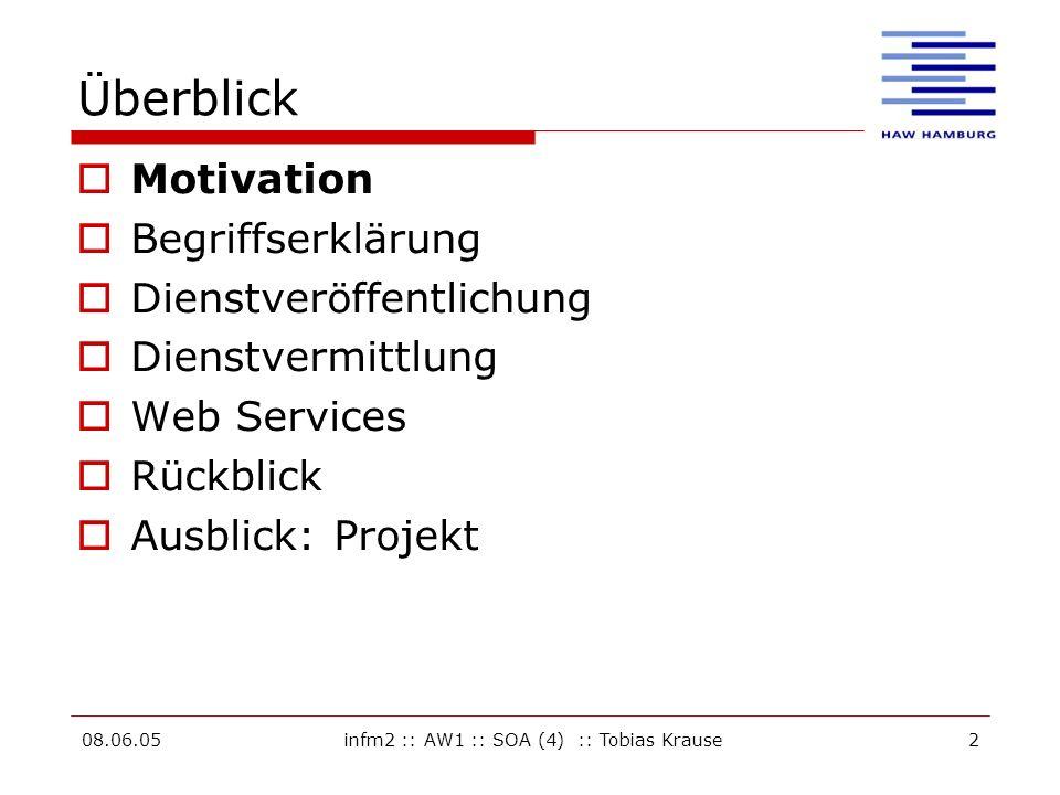 08.06.05infm2 :: AW1 :: SOA (4) :: Tobias Krause2 Überblick Motivation Begriffserklärung Dienstveröffentlichung Dienstvermittlung Web Services Rückblick Ausblick: Projekt