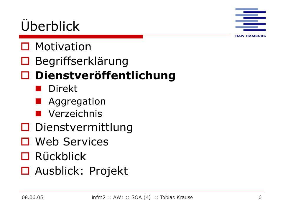 08.06.05infm2 :: AW1 :: SOA (4) :: Tobias Krause6 Überblick Motivation Begriffserklärung Dienstveröffentlichung Direkt Aggregation Verzeichnis Dienstvermittlung Web Services Rückblick Ausblick: Projekt
