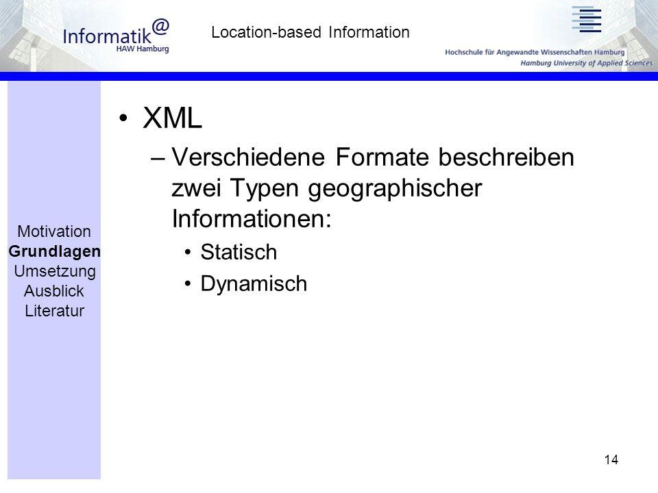 14 XML –Verschiedene Formate beschreiben zwei Typen geographischer Informationen: Statisch Dynamisch Location-based Information Motivation Grundlagen Umsetzung Ausblick Literatur