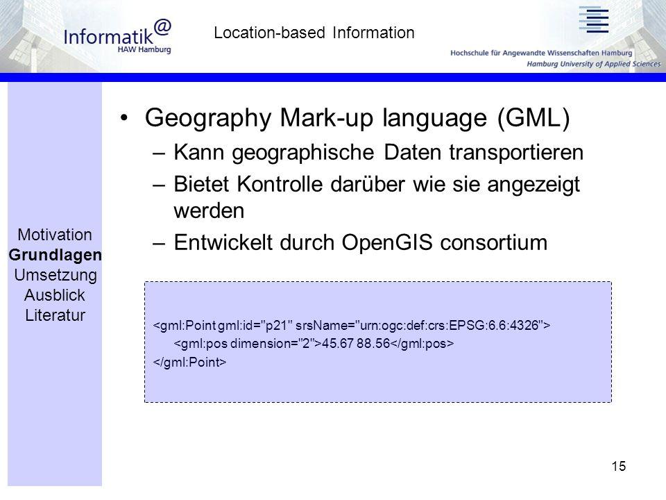 15 Geography Mark-up language (GML) –Kann geographische Daten transportieren –Bietet Kontrolle darüber wie sie angezeigt werden –Entwickelt durch OpenGIS consortium 45.67 88.56 Location-based Information Motivation Grundlagen Umsetzung Ausblick Literatur
