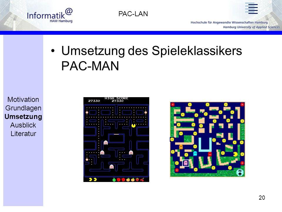 20 Umsetzung des Spieleklassikers PAC-MAN PAC-LAN Motivation Grundlagen Umsetzung Ausblick Literatur