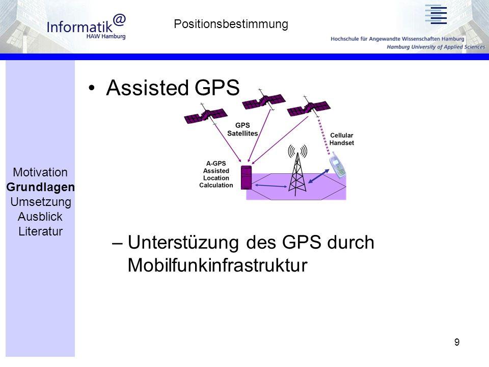 9 Assisted GPS –Unterstüzung des GPS durch Mobilfunkinfrastruktur Positionsbestimmung Motivation Grundlagen Umsetzung Ausblick Literatur