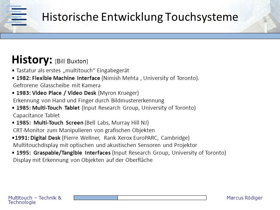 Multitouch – Technik & Technologie Marcus Rödiger Historische Entwicklung Touchsysteme History: [ Bill Buxton ] Tastatur als erstes multitouch Eingabe