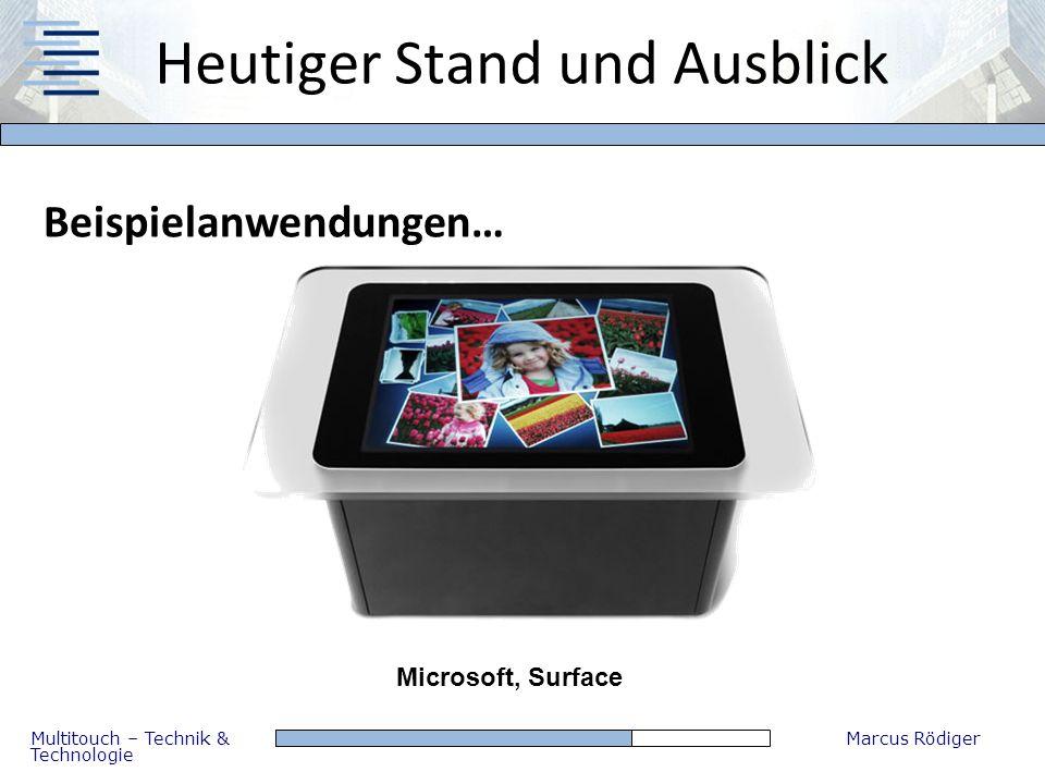 Multitouch – Technik & Technologie Marcus Rödiger Heutiger Stand und Ausblick Beispielanwendungen… Microsoft, Surface