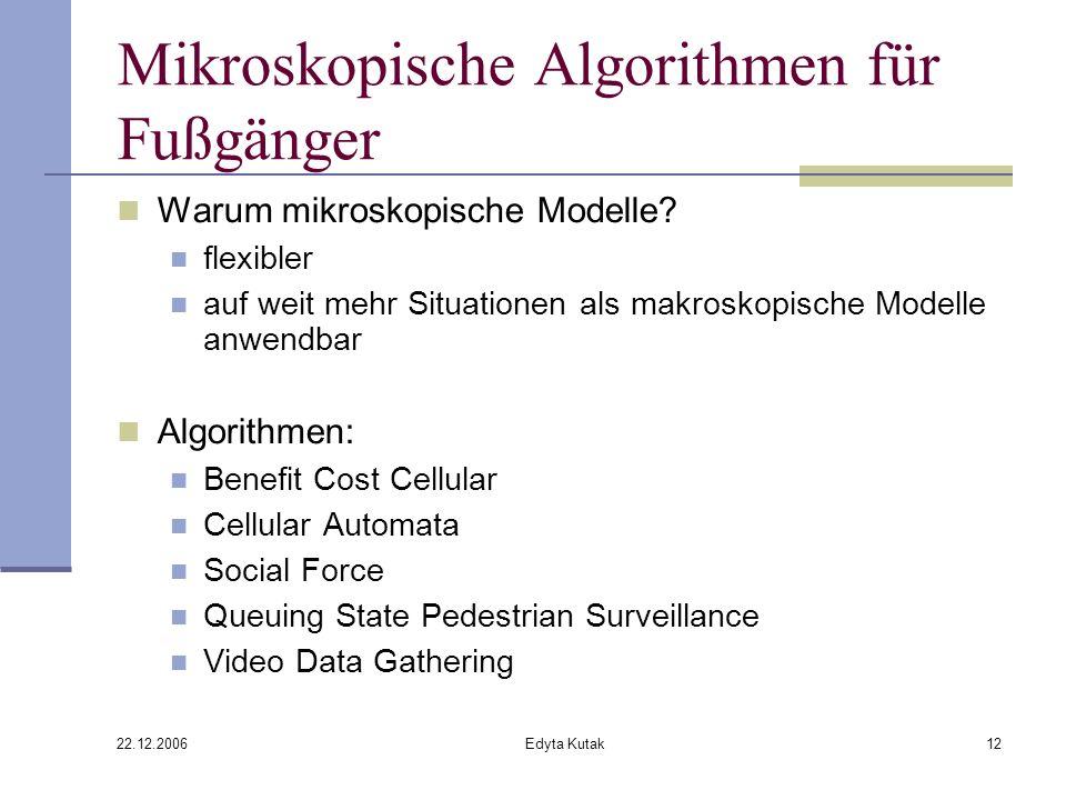 22.12.2006 Edyta Kutak12 Mikroskopische Algorithmen für Fußgänger Warum mikroskopische Modelle.