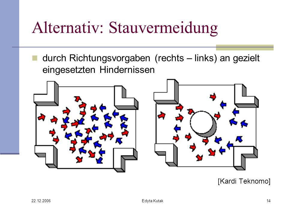 22.12.2006 Edyta Kutak14 Alternativ: Stauvermeidung durch Richtungsvorgaben (rechts – links) an gezielt eingesetzten Hindernissen [Kardi Teknomo]