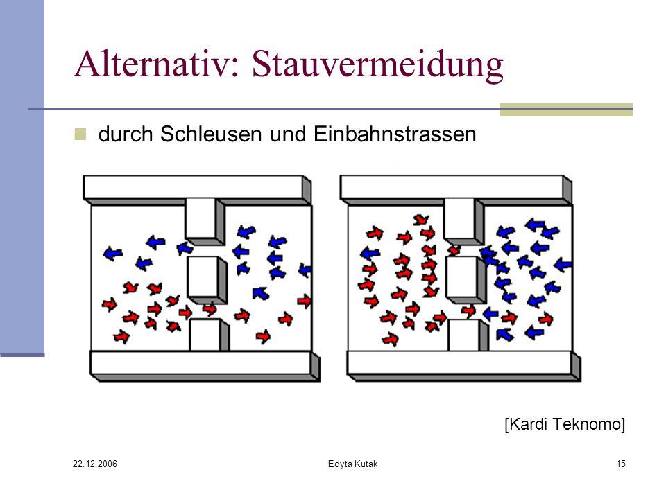 22.12.2006 Edyta Kutak15 Alternativ: Stauvermeidung durch Schleusen und Einbahnstrassen [Kardi Teknomo]